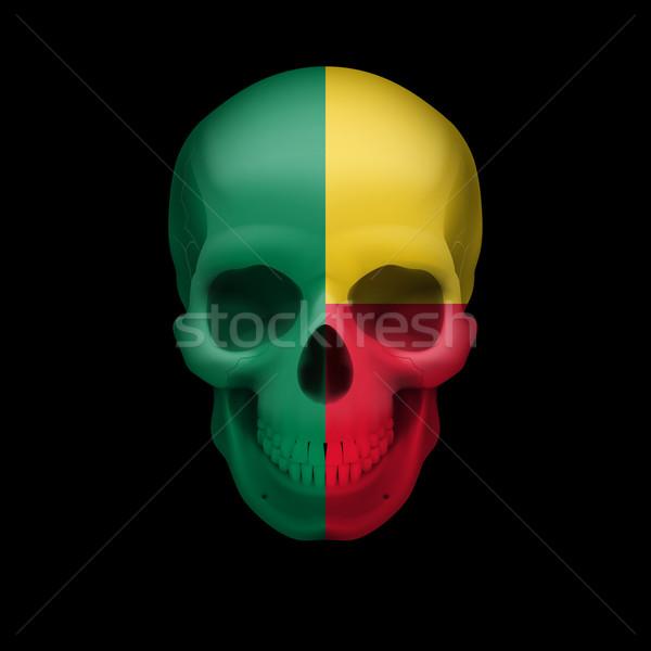 Beninois flag skull Stock photo © dvarg