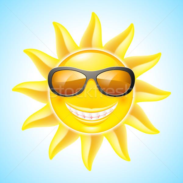 Cartoon sol sonriendo gafas de sol ver otro Foto stock © dvarg