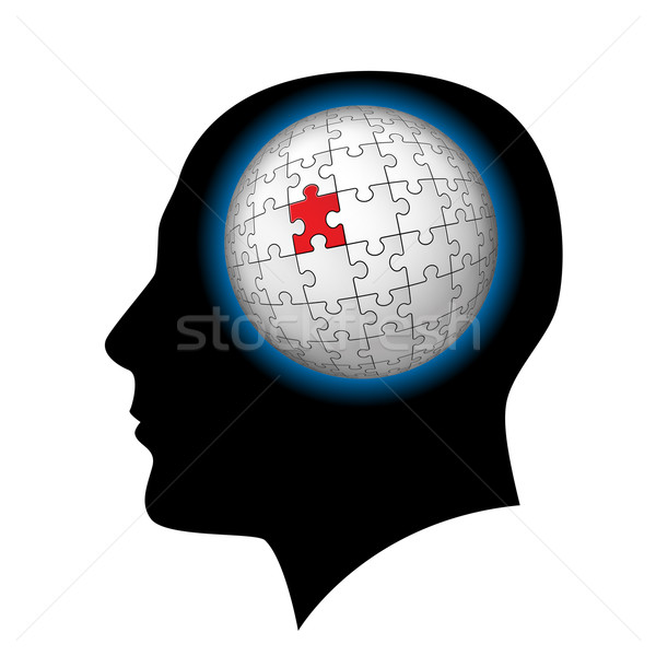 Stock photo: The man with puzzle sphere in the head.