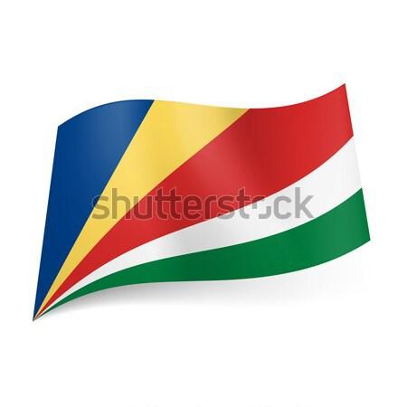 Zászló Seychelle-szigetek kék citromsárga piros fehér Stock fotó © dvarg
