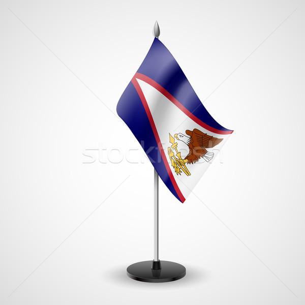 Tabela bandeira Samoa Americana mundo conferência secretária Foto stock © dvarg