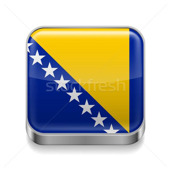 Metal icono Bosnia Herzegovina cuadrados bandera colores Foto stock © dvarg
