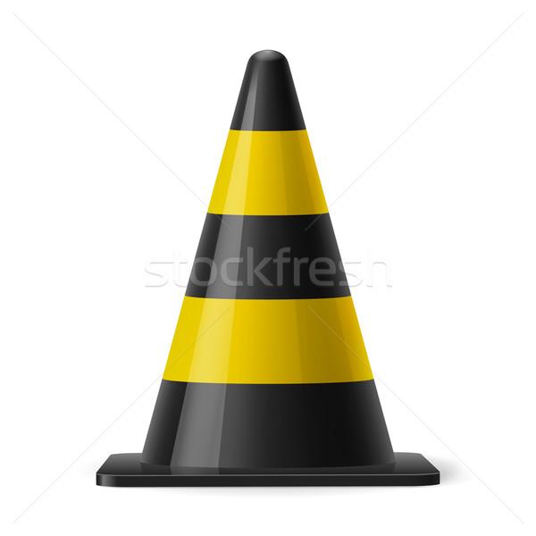 Trafik koni siyah sarı güvenlik imzalamak Stok fotoğraf © dvarg