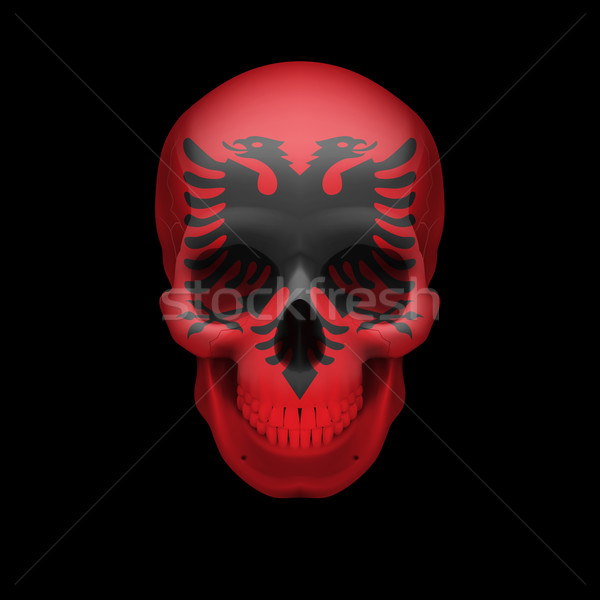 Albanian flag skull Stock photo © dvarg