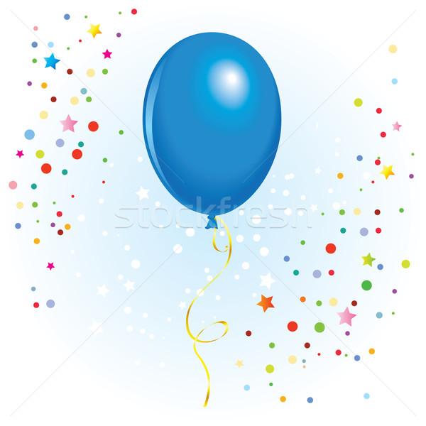 Ballon gekruld lint Blauw vector formaat Stockfoto © dvarg
