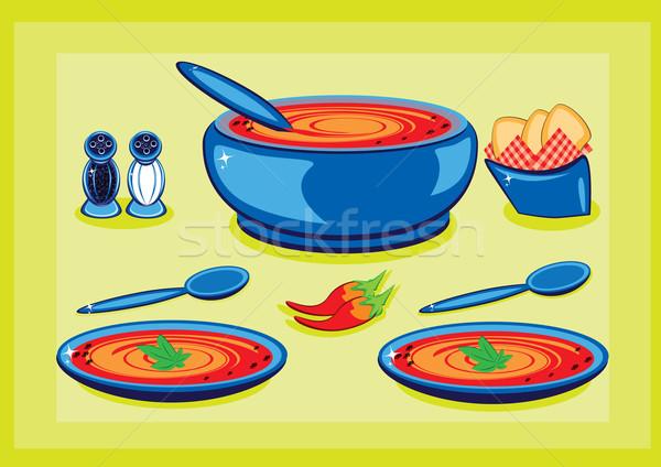 Nagy lábas tányér leves tányérok konyha Stock fotó © dvarg
