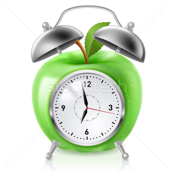 Verde maçã despertador ilustração branco projeto Foto stock © dvarg