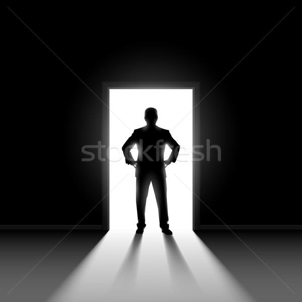 Silhouet man deuropening donkere kamer heldere Stockfoto © dvarg