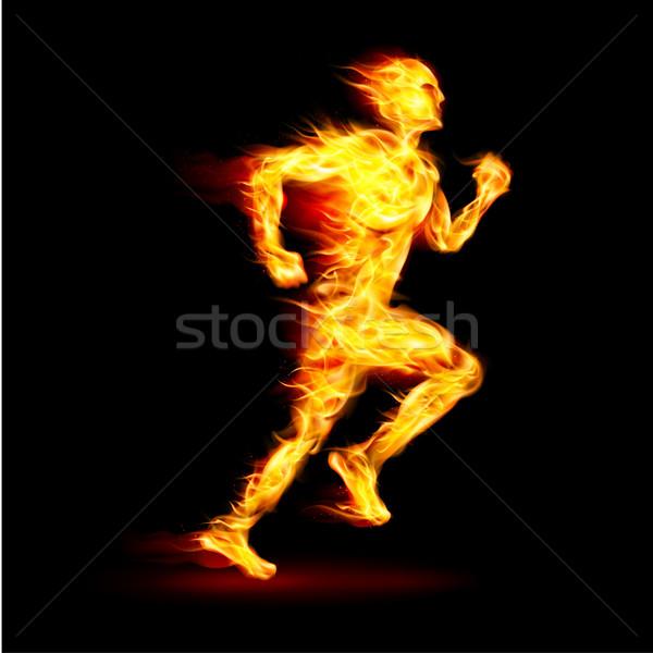 Ateşli çalışma adam hareket etki siyah Stok fotoğraf © dvarg