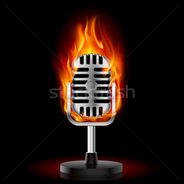 Сток-фото: старые · микрофона · огня · иллюстрация · черный · дизайна