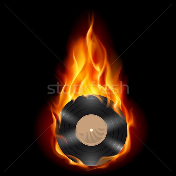 Vinyl record burning symbol Stock photo © dvarg