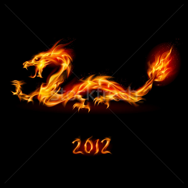 Fogo dragão abstrato ardente ilustração branco Foto stock © dvarg