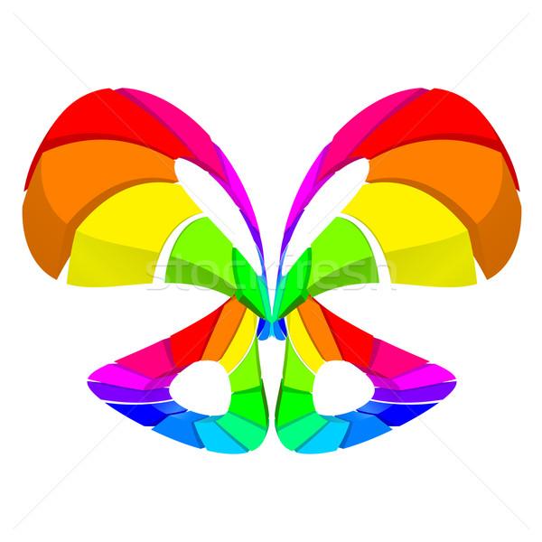 Stockfoto: Abstract · kleurrijk · vlinder · witte · ontwerp · licht