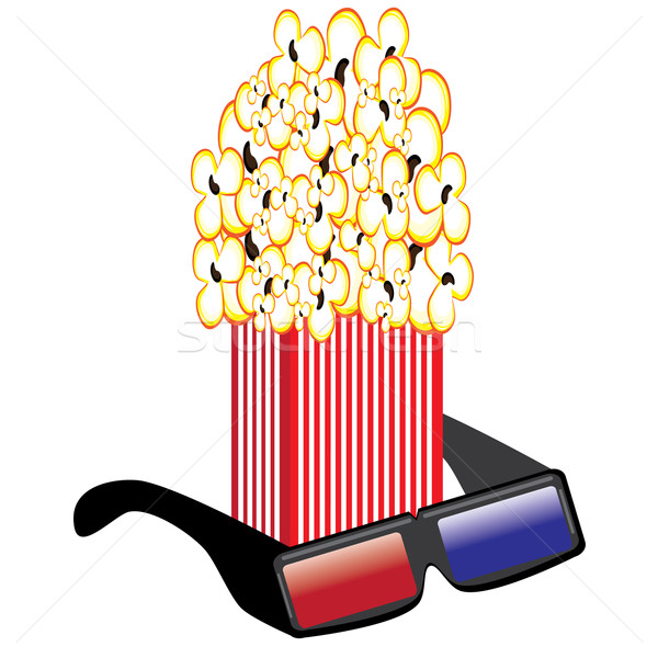 Popcorn and 3D Glasses Stock photo © dvarg