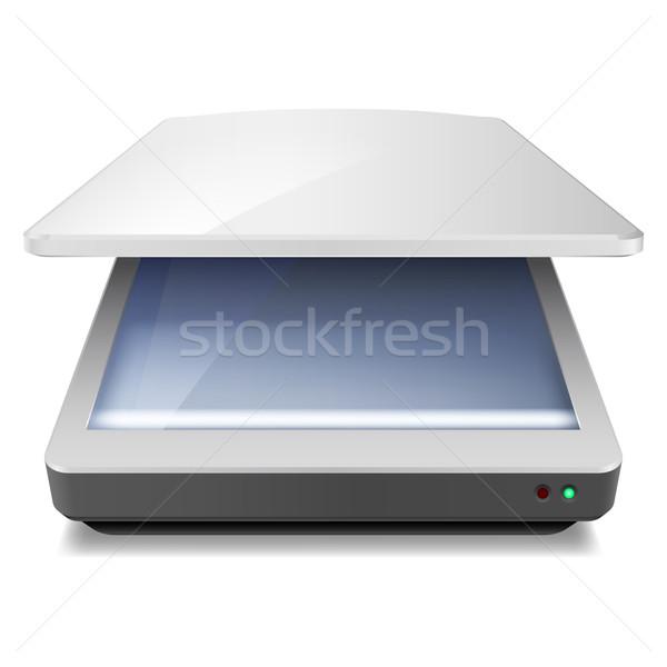 Szkenner kinyitott iroda illusztráció fehér terv Stock fotó © dvarg