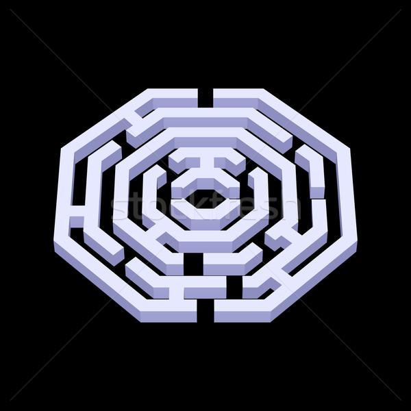 Labirintus illusztráció fehér 3D forma fekete Stock fotó © dvarg