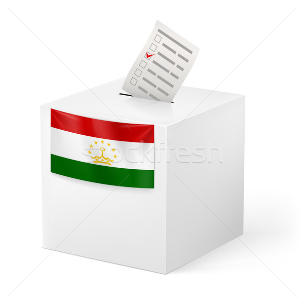 Ballot box with voting paper. Tajikistan Stock photo © dvarg