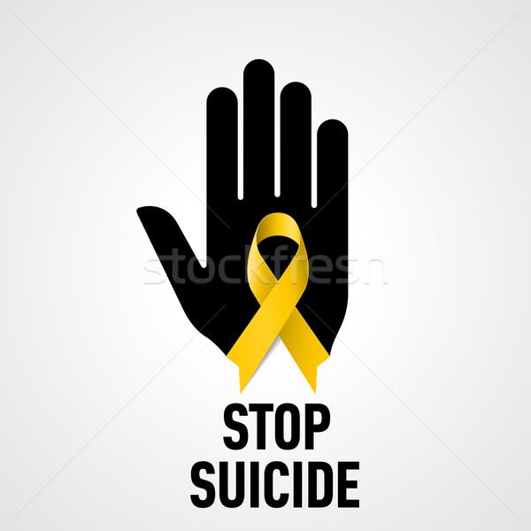 остановки самоубийства знак черный стороны желтый Сток-фото © dvarg