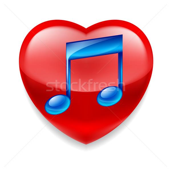 Favori müzik ikon parlak kırmızı kalp Stok fotoğraf © dvarg