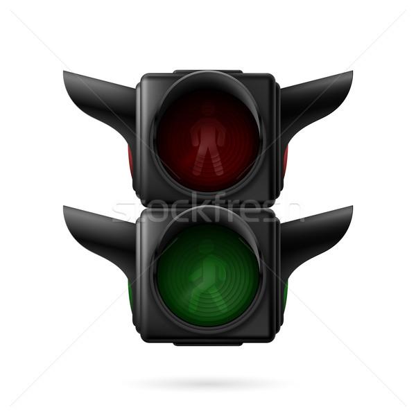 Voetganger stoplicht realistisch verkeerslichten af illustratie Stockfoto © dvarg