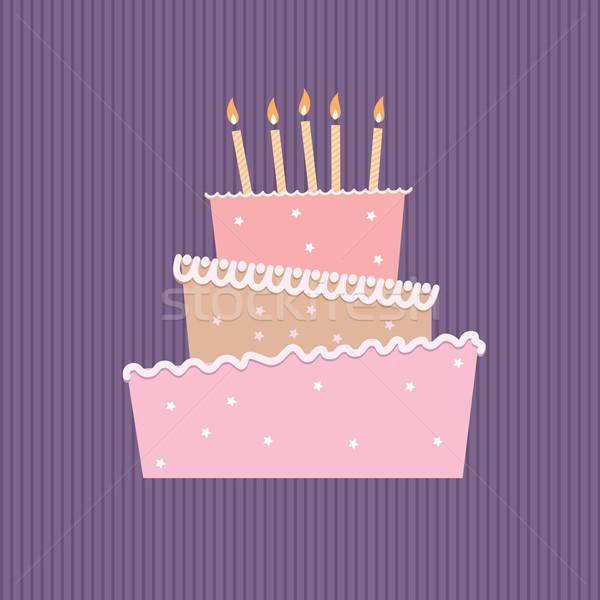 Bolo de aniversário um velas ilustração branco festa Foto stock © dvarg