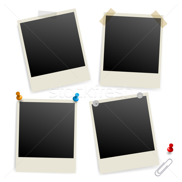 Stock photo: Six empty picture frames