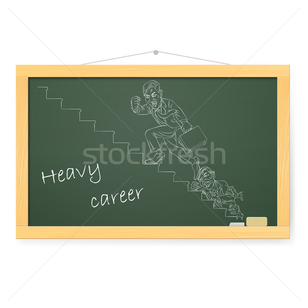Blackboard zakenman klimmen corporate ladder business Stockfoto © dvarg