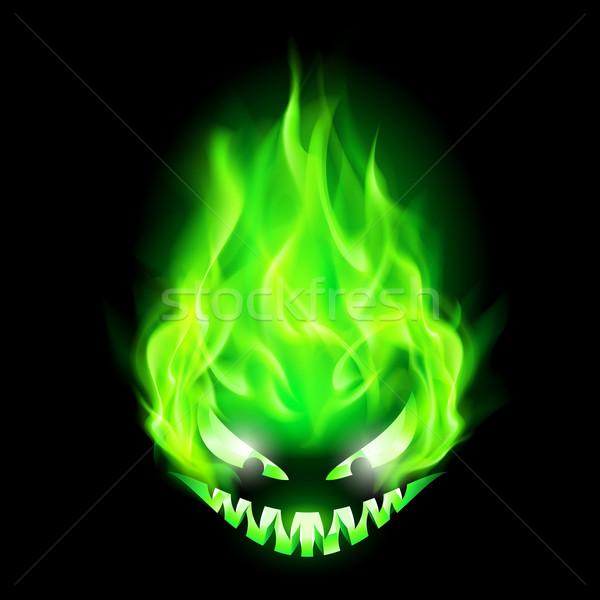 Vurig monster hoofd groene zwarte licht Stockfoto © dvarg