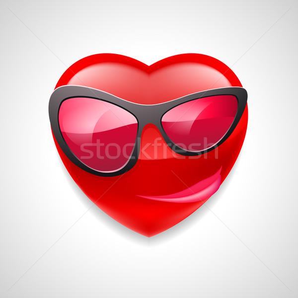 Serca charakter kobiet okulary szeroki uśmiech świetle Zdjęcia stock © dvarg