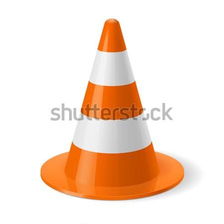 Trafik koni beyaz turuncu güvenlik imzalamak Stok fotoğraf © dvarg