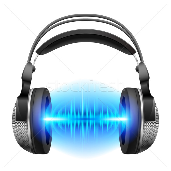Headphones with music playing Stock photo © dvarg