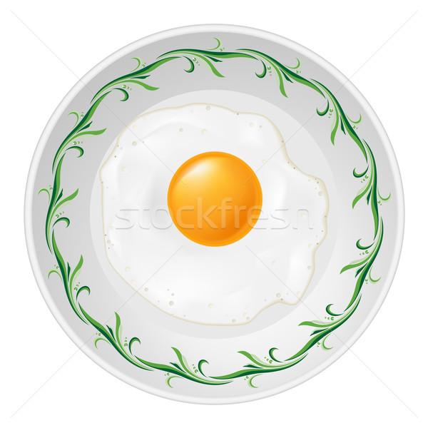 Ovo frito prato ilustração branco comida amor Foto stock © dvarg