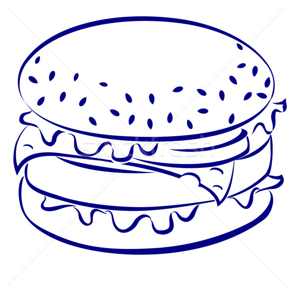 Cheeseburger blau weiß Symbol Illustration Design Stock foto © dvarg