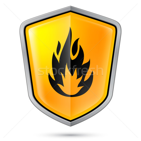 Bouclier inflammable produit illustration blanche Photo stock © dvarg