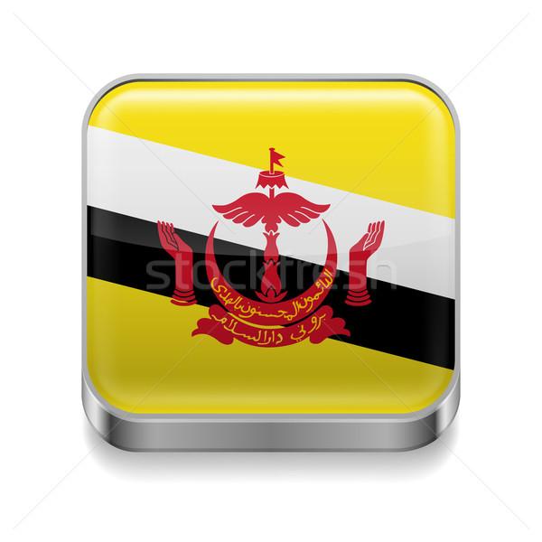 металл икона Бруней квадратный флаг цветами Сток-фото © dvarg