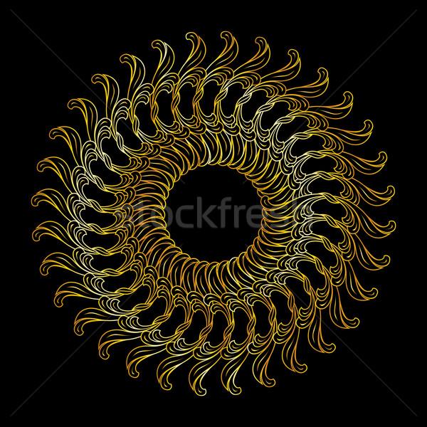 Złoty kwiatowy wzór streszczenie kolory czarny Zdjęcia stock © dvarg