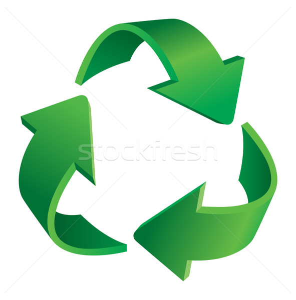 Stockfoto: Recycling · pijlen · symbool · illustratie · witte · abstract