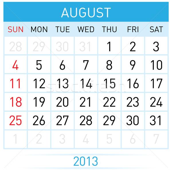 Kalendarza miesiąc sierpień ilustracja biały działalności Zdjęcia stock © dvarg