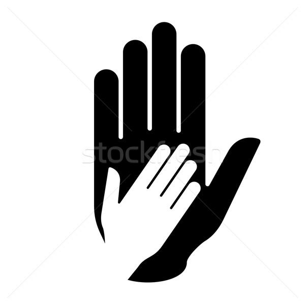 Helpende hand symbool helpen hulp samenwerking familie Stockfoto © dvarg