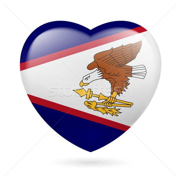Coração ícone Samoa Americana amor bandeira projeto Foto stock © dvarg