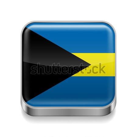 Fém ikon Bahamák tér zászló színek Stock fotó © dvarg