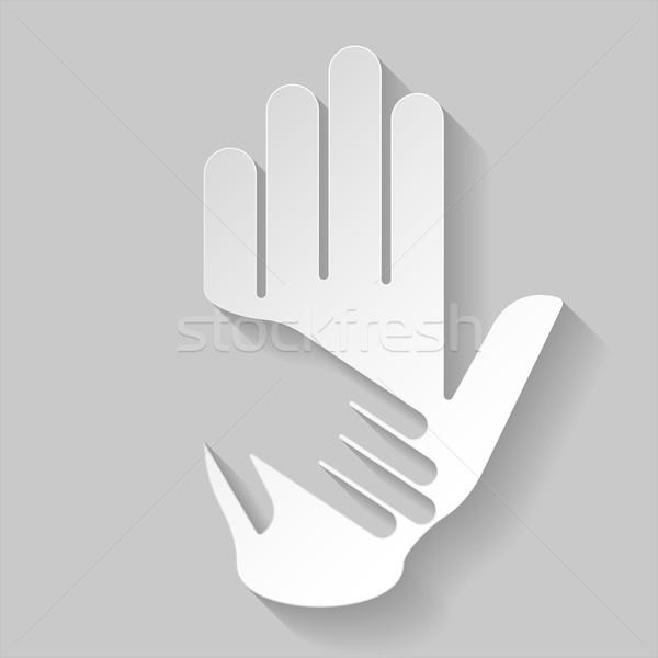 Papír segítő kéz kéz illusztráció stílus segítség Stock fotó © dvarg