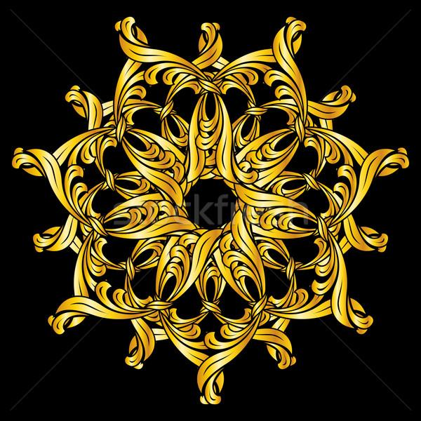 Kwiatowy wzór złota ilustracja czarny streszczenie Zdjęcia stock © dvarg