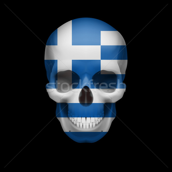 Greek flag skull Stock photo © dvarg