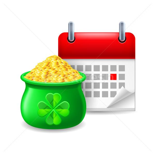 Pot goud kalender icon werk tijd Stockfoto © dvarg