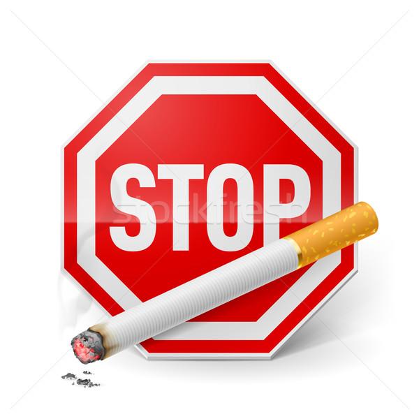 Stoppen roken Rood stopteken sigaret appelleren Stockfoto © dvarg