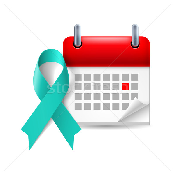 Teal awareness ribbon and calendar Stock photo © dvarg