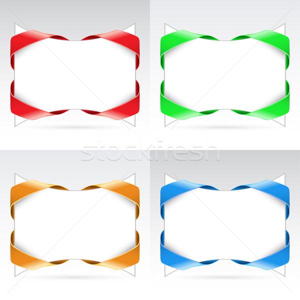Set of white blanks with ribbon Stock photo © dvarg