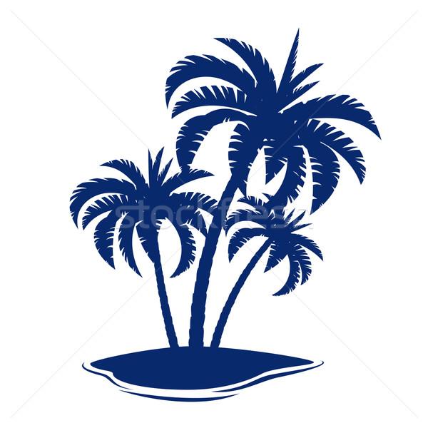 Tropisch eiland illustratie witte kunst zomer Blauw Stockfoto © dvarg
