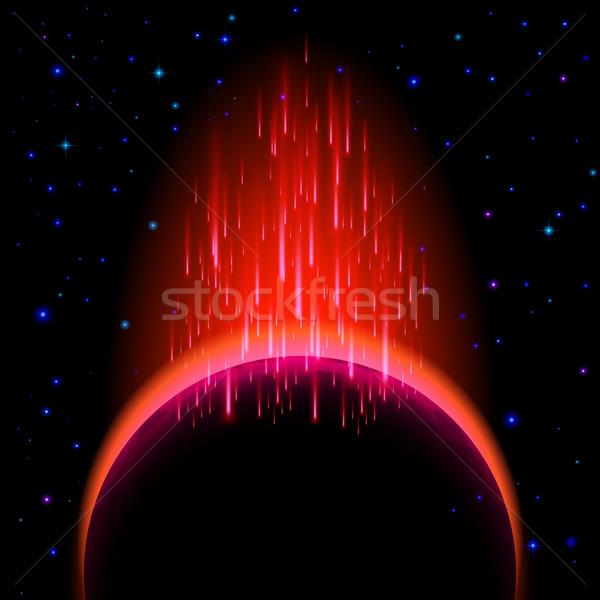 Foto stock: Escuro · planeta · labareda · espaço · vermelho · estrela